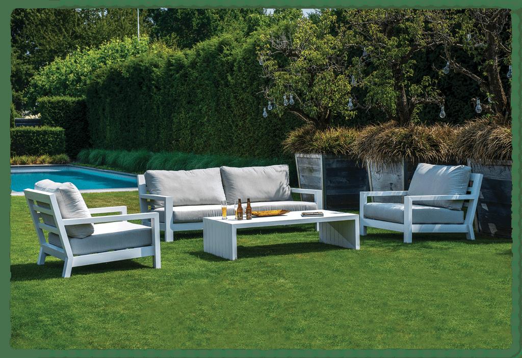 Midori lounge set - white - ripped transparent | Yoi Furniture