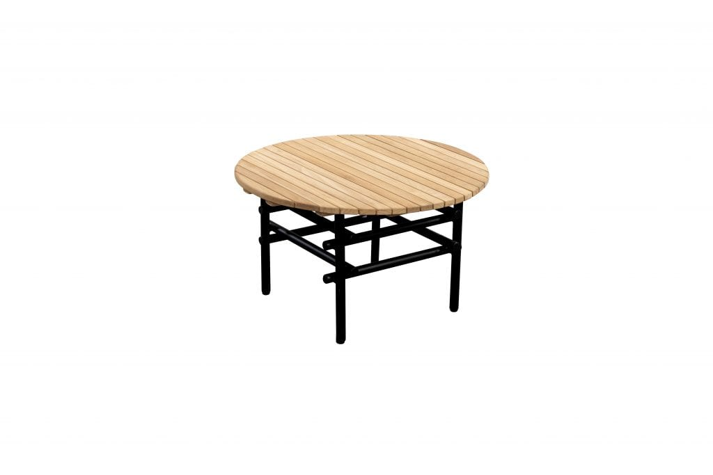 Ki side table round black + teak | YOI Furniture