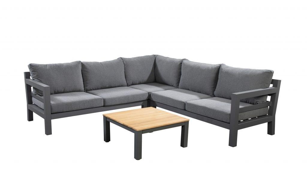 Midori chaise lounge left - right corner module with 75x75 coffee table - dark grey | Yoi Furniture