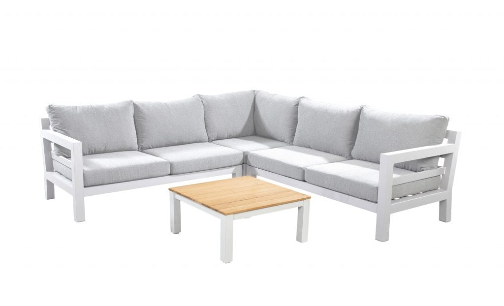 Midori chaise lounge left - right corner module with 75x75 coffee table - white | Yoi Furniture