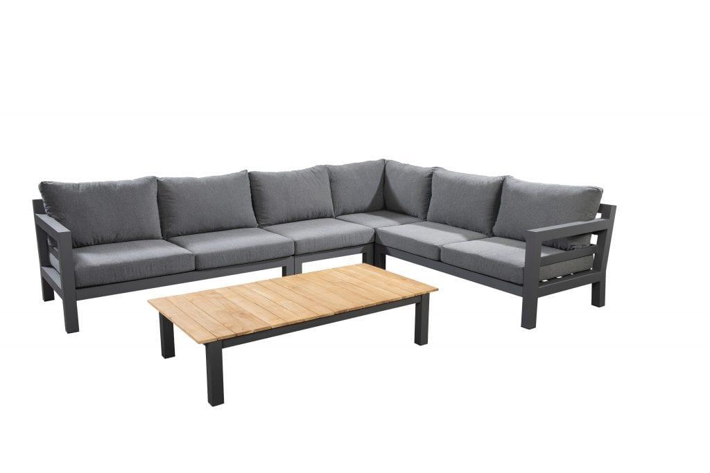 Midori chaise lounge left - right corner module middle module with 75x75 coffee table - white   Yoi Furniture