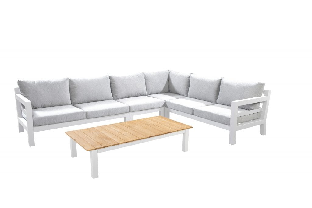 Midori chaise lounge left - right corner module middle module with 140x75 coffee table - white | Yoi Furniture