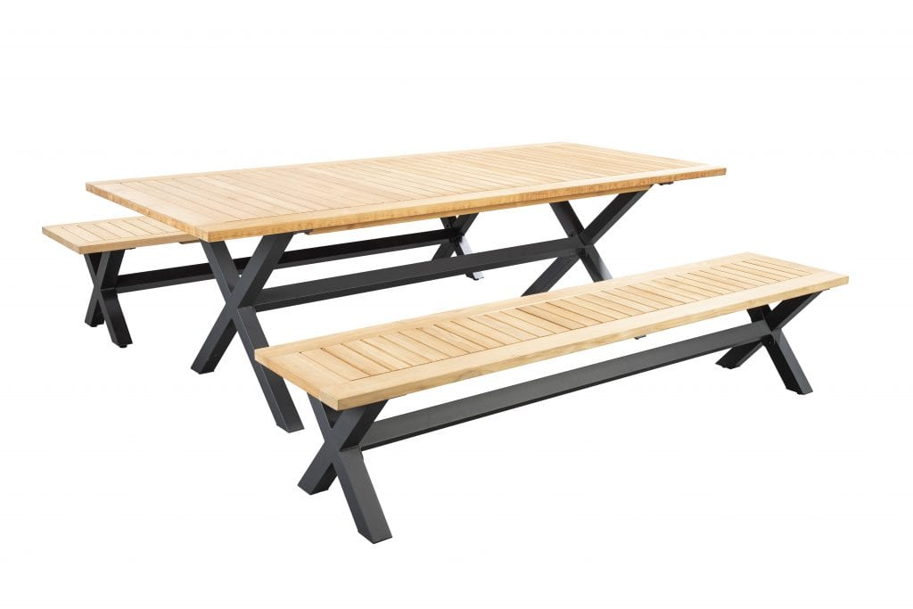 Wakai 236x100 dining table with bench - dark grey | Yoi  Furniture